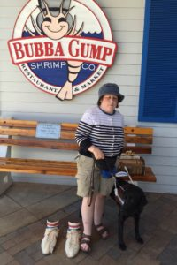 Tansy and I near the Bubba Gump's sign