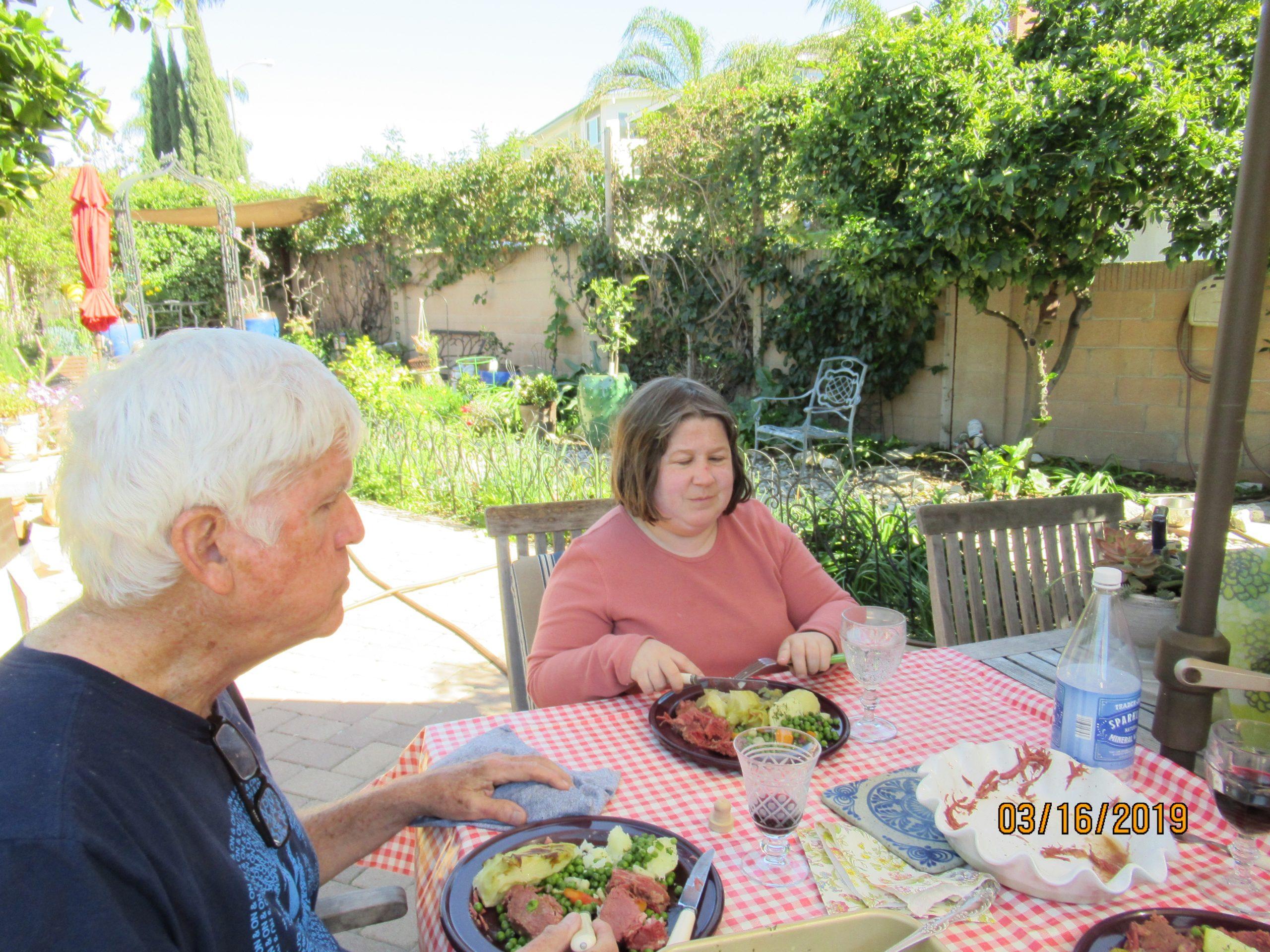 Lunch in their garden