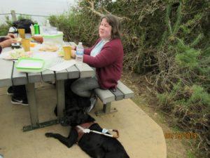 Tansy and I at a picnic table