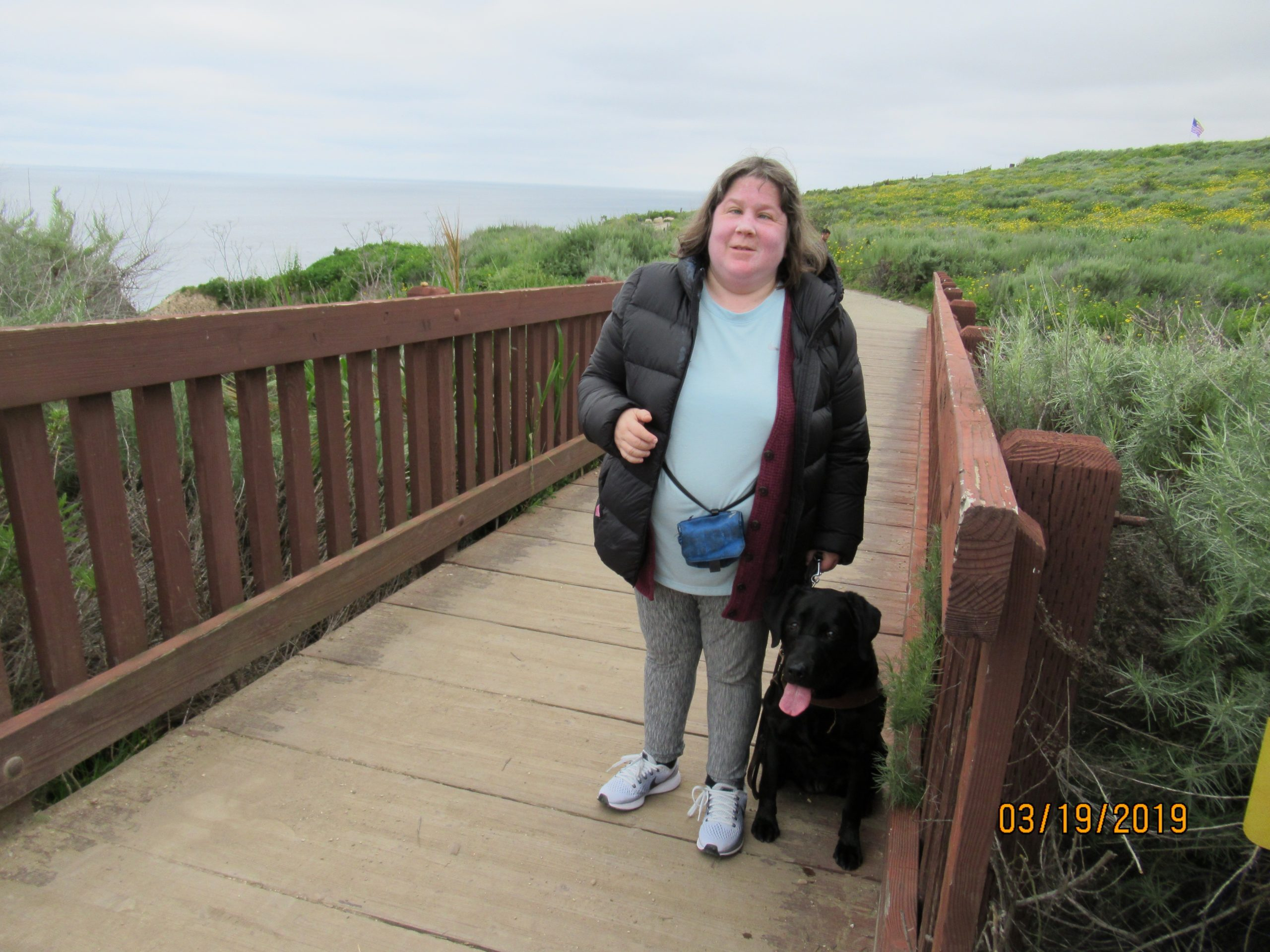 Tansy and I on the bridge at the golf course