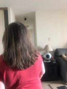 The back of my head, with hair going way past my shoulders.